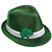 Celtic Shamrock Metallic Fedora Hat