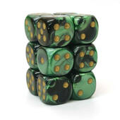 Chessex Black And Green Gemini Dice 16mm D6 Block