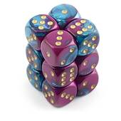 Chessex - Gemini 16mm D6 Dice Blocks Purple Teal With Gold