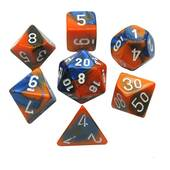 Chessex - Gemini Blue Orange With White Polyhedral 7 Die Set