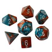 Chessex - Gemini Copper Teal With Silver Polyhedral 7 Die Set