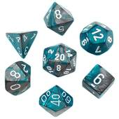 Chessex - Gemini Steel Teal With White Polyhedral 7 Die Set