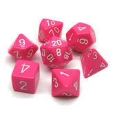 Chessex Opaque Pink Polyhedral Dice With White Dots