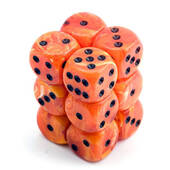 Chessex Orange With Black Vortex Dice 16mm D6 Block