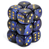 Chessex Royal Blue With Gold Scarab Dice 16mm D6 Block