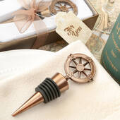 Compass Design Bronze Metal Bottle Stopper