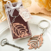 Copper Color Metal Fall Leaf Design Key Chain