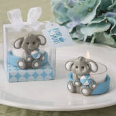 Cute Baby Elephant with Blue Design Tea Light Holder