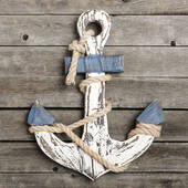 Distressed Look Anchor Wall Plaque Large Size