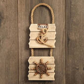 Double Wall Plaque Anchor and Ships Wheel Distressed Wood Edge