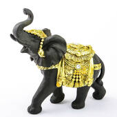 Ebony with Gold Accents Elephant Large Size