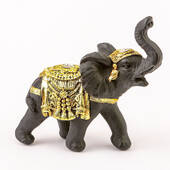 Ebony with Gold Accents Elephant Small Size