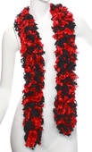 Faux Black And Red Featherless Boa (6', 185 grams)
