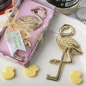 Flamingo / Tropical Themed Gold Metal Bottle Opener