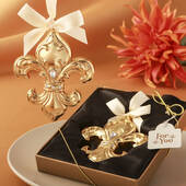 Fleur De Lis Design Shiny Gold Ornament