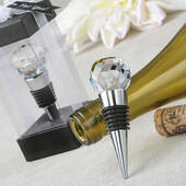 Glass Crystal Faceted Top Chrome Bottle Stopper