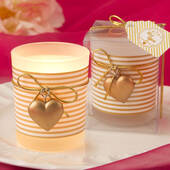 Glass Gold Heart Design Votive Candle Holder with a White and Gold Striped Design