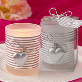 Glass Silver Heart Design Votive Candle Holder with a White and Silver Striped Design