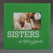 Glass Sisters Frame 6 x 4 Green and White