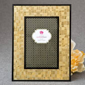 Glorious Gold 4 x 6 Mosaic Frame with Glass Black Borders