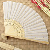 Gold Dot Silk Folding Fan Favor