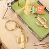 Gold Metal Cactus Design Key Chain