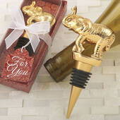 Good Fortune Elephant Design Gold Bottle Stopper