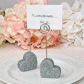 Heart Themed Silver Glitter Place Card Holder