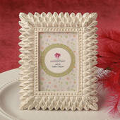 Ivory and Brushed Gold Leaf Design Place Card / Photo Frame