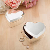 Large Silver Heart Box with Beveled Edge