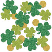 Large Sparkled Shamrock And Coins Confetti