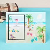 Lovely Flip Flop Palm Trees Beach Themed Glass Frame 4 x 6