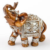 Mahogany with Silver Accents Elephant Small Size