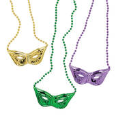 Mardi Gras Beads With Attached Masquerade Mask