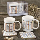 Nautical Mug and Coaster Set 2 Assorted Designs