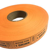 Orange Good For One Drink Ticket Roll