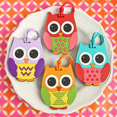 Owl Design Luggage Tags: Four Assorted 24 Piece Display Box