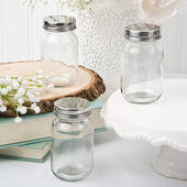 Perfectly Plain Glass Mason Jar with Silver Metal Screw Top