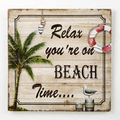 Relax You're On Beach Time Wood Wall Plaque