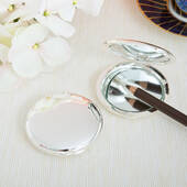 Silver Plated Round Compact Mirror