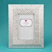 Silver Pu Frame 4 x 6 with Wide Border and Beveled Edge