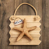 Starfish Wall Plaque Relax Distressed Wood Edge
