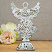 Stunning Angel Statue in Silver Poly Resin