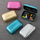 Stunning Croc Pill Box in Metallic Colors