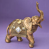 Stunning Gold Elephant with Shiny Mirror Design and Clear Stones