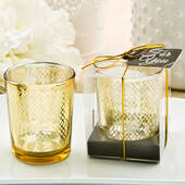 Stunning Gold Mercury Candle Votive with A Geometric Design