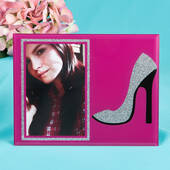 Stunning High Heel Shoe with Silver Glitter Glass Frame 4x6