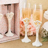 Vintage Heart Design Toasting Glass Flute Set
