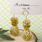 Warm Welcome Collection Gold Pineapple Themed Place Card Holder