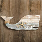 Whale Wall Plaque with Starfish and Rope